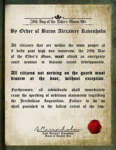 By Order of Baron Alexavier Ravenholm